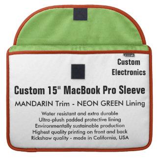 "Custom 15"" MacBook Pro Sleeve - Mandarin & Green"