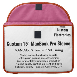 "Custom 15"" MacBook Pro Sleeve - Mandarin & Pink"