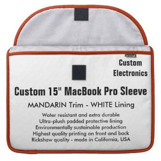 "Custom 15"" MacBook Pro Sleeve - Mandarin & White"
