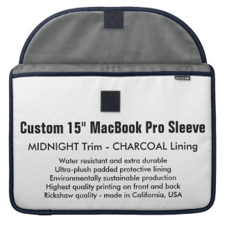 "Custom 15"" MacBook Pro Sleeve - Midnight & Gray"