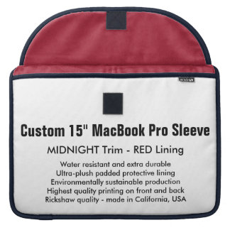 "Custom 15"" MacBook Pro Sleeve - Midnight & Red"