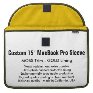 "Custom 15"" MacBook Pro Sleeve - Moss & Gold"