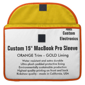 "Custom 15"" MacBook Pro Sleeve - Orange & Gold"