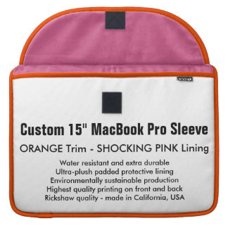"Custom 15"" MacBook Pro Sleeve - Orange & Pink"