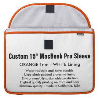 "Custom 15"" MacBook Pro Sleeve - Orange & White"