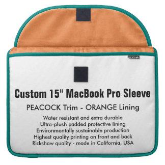 "Custom 15"" MacBook Pro Sleeve - Peacock & Orange"