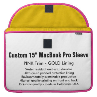 "Custom 15"" MacBook Pro Sleeve - Pink & Gold"