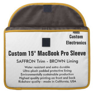 "Custom 15"" MacBook Pro Sleeve - Saffron & Brown"