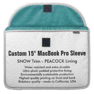 "Custom 15"" MacBook Pro Sleeve - Snow & Peacock"