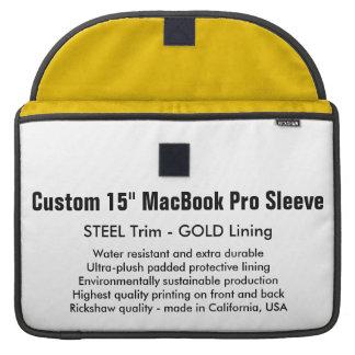 "Custom 15"" MacBook Pro Sleeve - Steel & Gold"