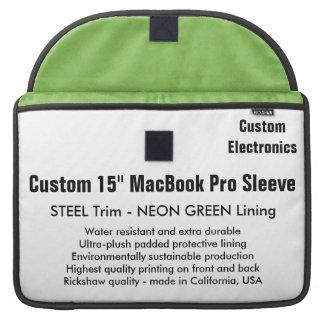 """Custom 15"""" MacBook Pro Sleeve - Steel & Neon Green"""
