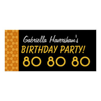 Custom 80th Birthday or Any Year Gold Stars Poster