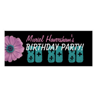 Custom 80th Birthday Party or Any Year Pink Daisy Poster