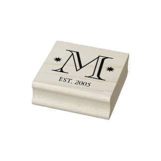 Custom add your monogram initial date family rubber stamp