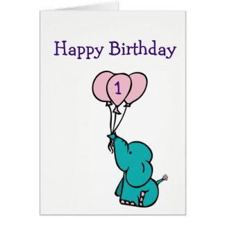 Custom Age Birthday Card - Elephant