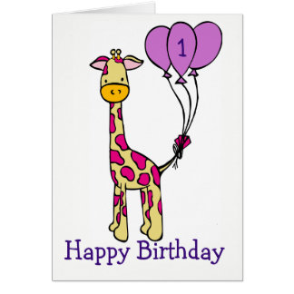 Custom Age Birthday Card - Giraffe