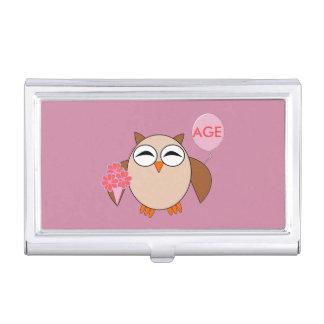 Custom Age Birthday Owl Business Card Holder