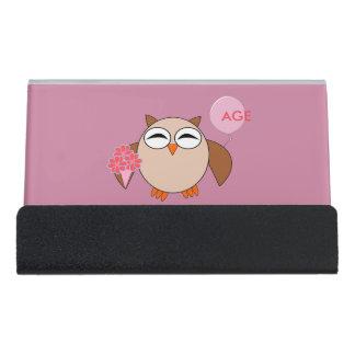 Custom Age Birthday Owl Desk Business Card Holder