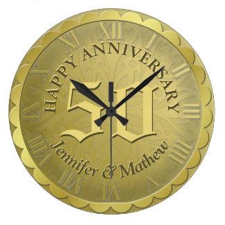 Custom Anniversary Clock Gold