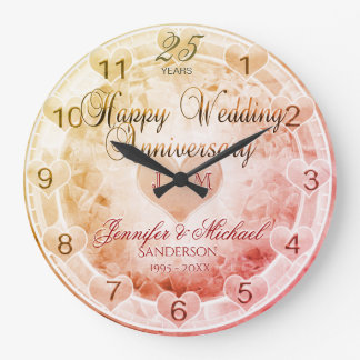Custom Any Year Wedding Anniversary Hearts Large Clock