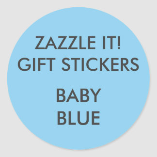 Custom BABY BLUE ROUND Large Gift Stickers