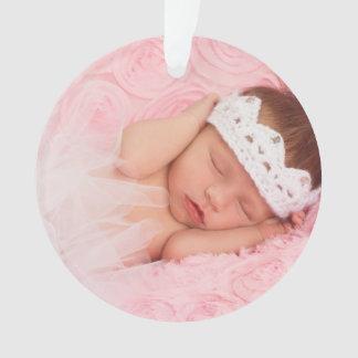 Custom Baby Girl Newborn Photo Holiday Ornament