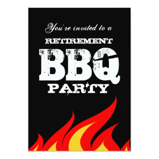 Custom backyard BBQ retirement party invitations