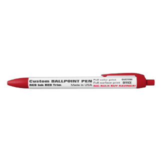 Custom Ballpoint Pen - RED Ink, RED Trim