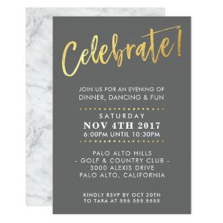 CUSTOM Bar Mitzvah enclosure party grey + gold Card