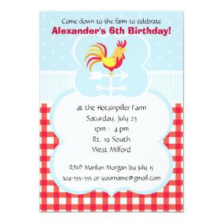 "Custom Barnyard Rooster Birthday Party 5"" X 7"" Invitation Card"