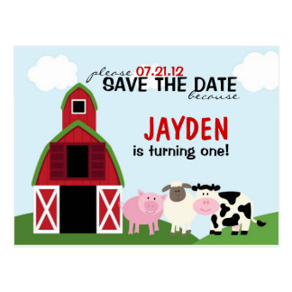Custom Barnyard Save The Date or Invitations Postcard