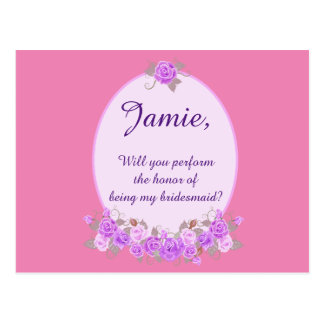Custom Be my bridesmaid purple floral invitation Postcard