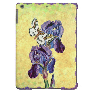 Custom Beautiful Purple Iris Flowers Butterfly iPad Air Cover