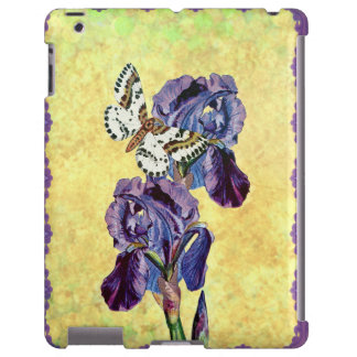 Custom Beautiful Purple Iris Flowers Butterfly iPad Case