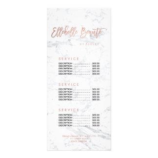 Custom beauty faux gold marble price list customized rack card