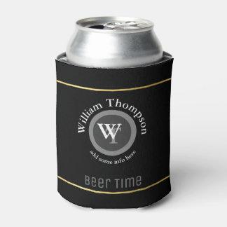 custom beer monogram (name & initials) black can cooler