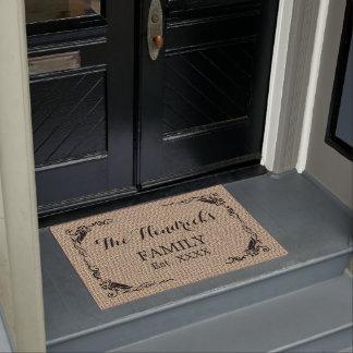 Custom Beige Brown Faux Jute Texture Family Name Doormat