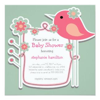 custom bird flower frame baby girl shower 13 cm x 13 cm square