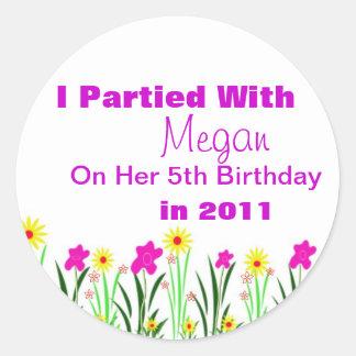 Custom Birthday Party Favour Stickers