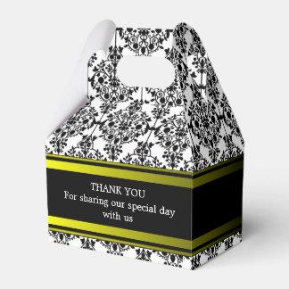 Custom Black Damask Wedding Gable Favour Box