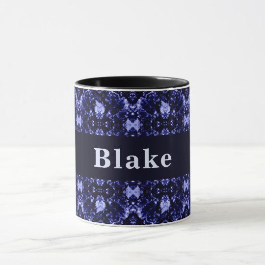Custom Blue Abstract Pattern Mug