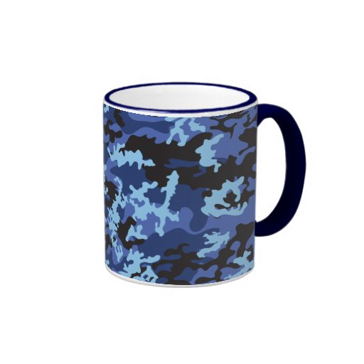 Custom Blue Camo Glass Mug