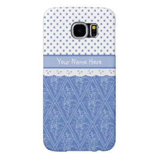 Custom Blue Periwinkles Polka Dots Faux Lace