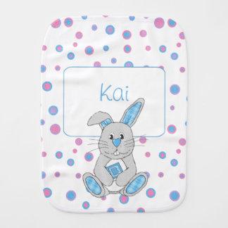 Custom Blue Plaid Bunny Boy Baby Burp Cloth