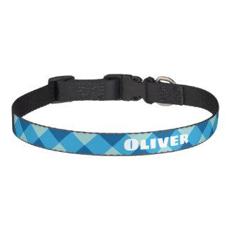 Custom Blue Plaid Dog Collar. Personalize! Pet Collar