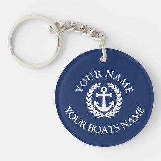 Custom boat name nautical anchor key ring