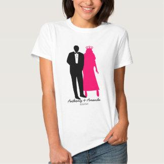 Custom bride and groom wedding tee