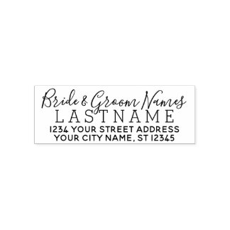 Custom Bride Groom Wedding Name and Return Address Self-inking Stamp
