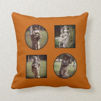 Custom Burnt Orange Photo Collage Cushion