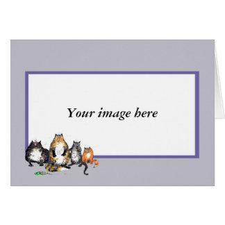 Custom card lilac frame.Three Alley Cats.Humor.